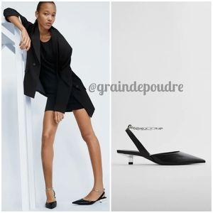 Zara Silver Ankle Chain Black Kitten Slingbacks 38